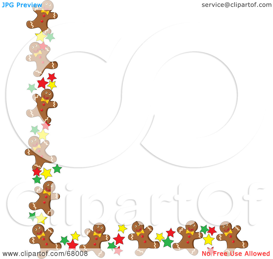 Gingerbread Cookie Border Clip Art 1080x1024