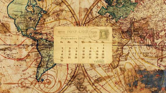 The September 2012 desktop calendar wallpaper features vintage map and 570x321
