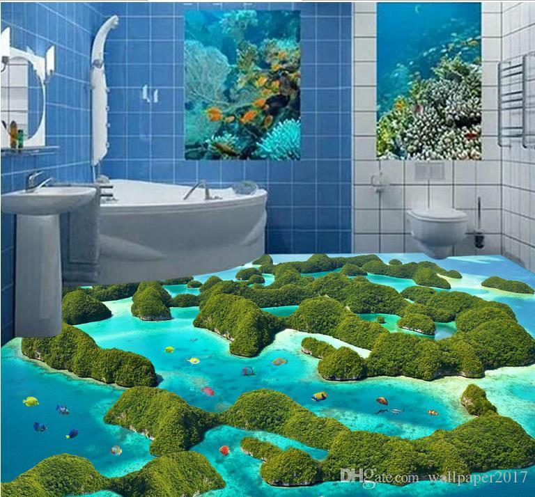 3D Floor Pvc Self Adhesive Wallpaper Aesthetic Reef Moss Sea Water 768x714