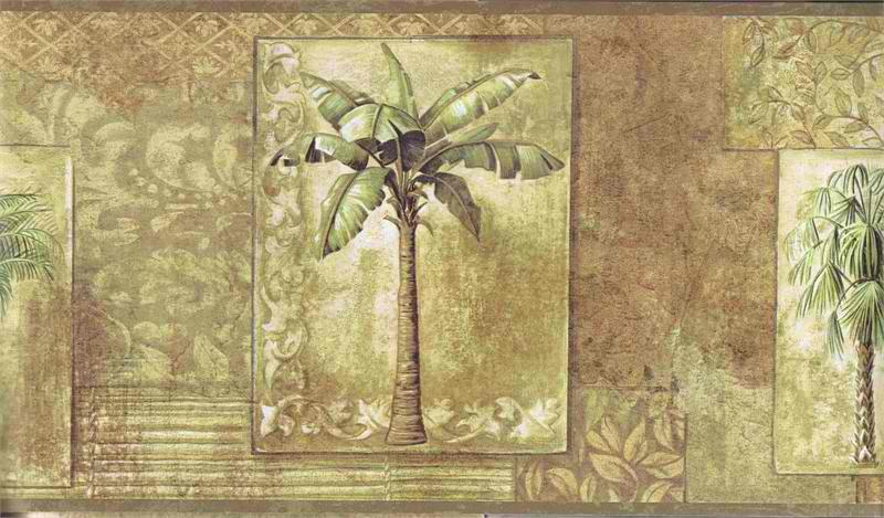 Brown Tropical Palm Trees Wallpaper Border 800x469