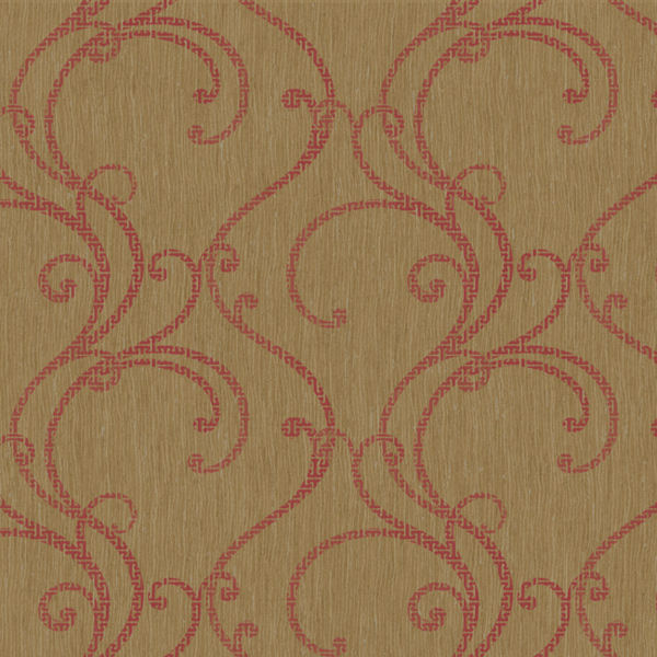 Metallic Gold and Pink Contemporary Ogee Wallpaper   Wall Sticker 600x600