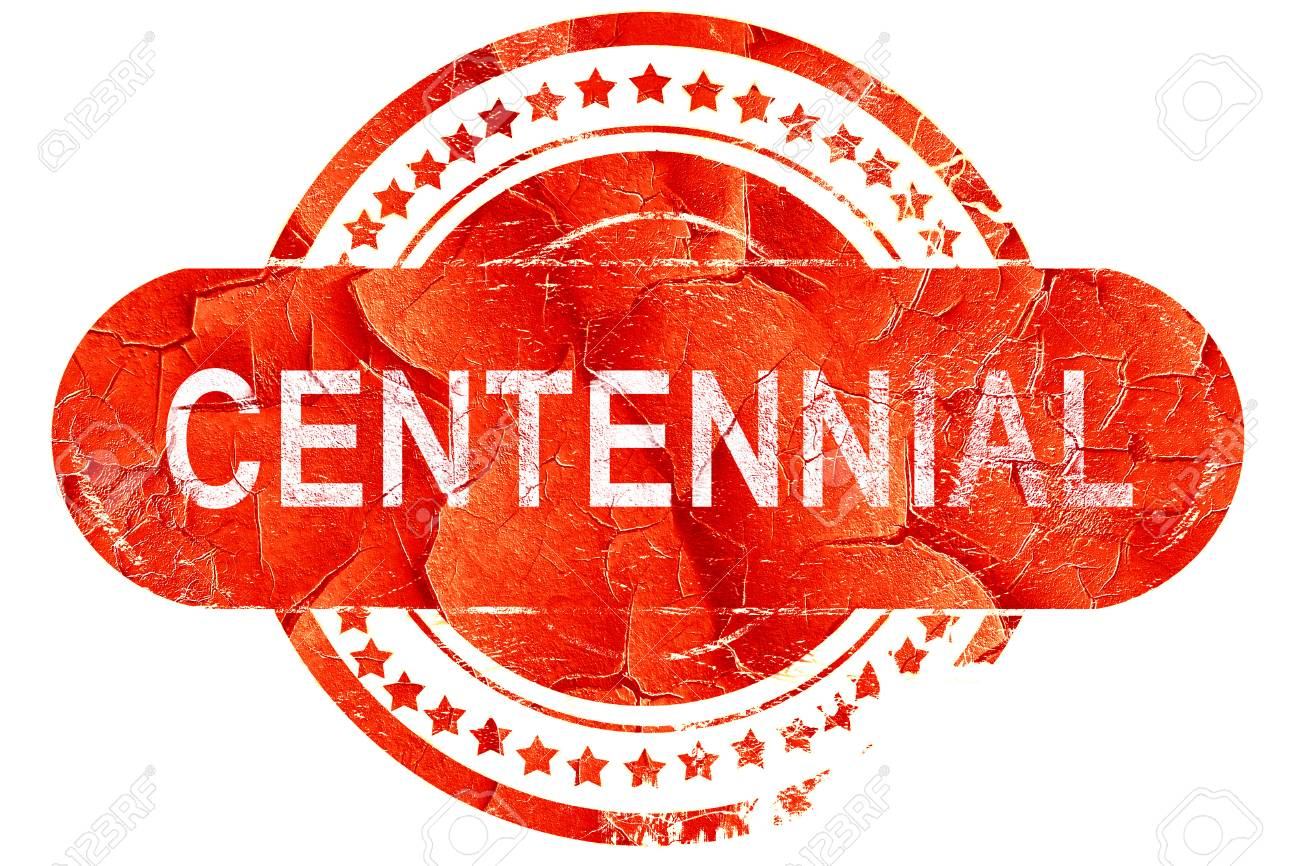 Centennial Red Grunge Rubber Stamp On White Background Stock 1300x866