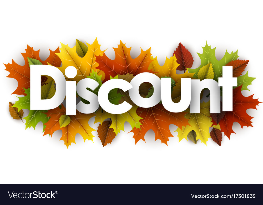 Autumn discount background with leaves Royalty Vector 1000x780