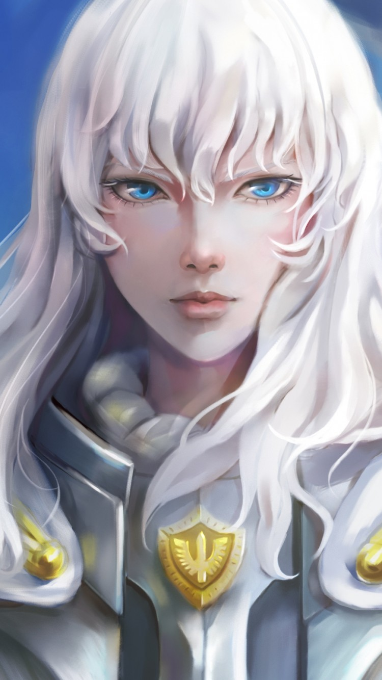 Download 750x1334 Griffith Berserk White Hair Blue Eyes 750x1334