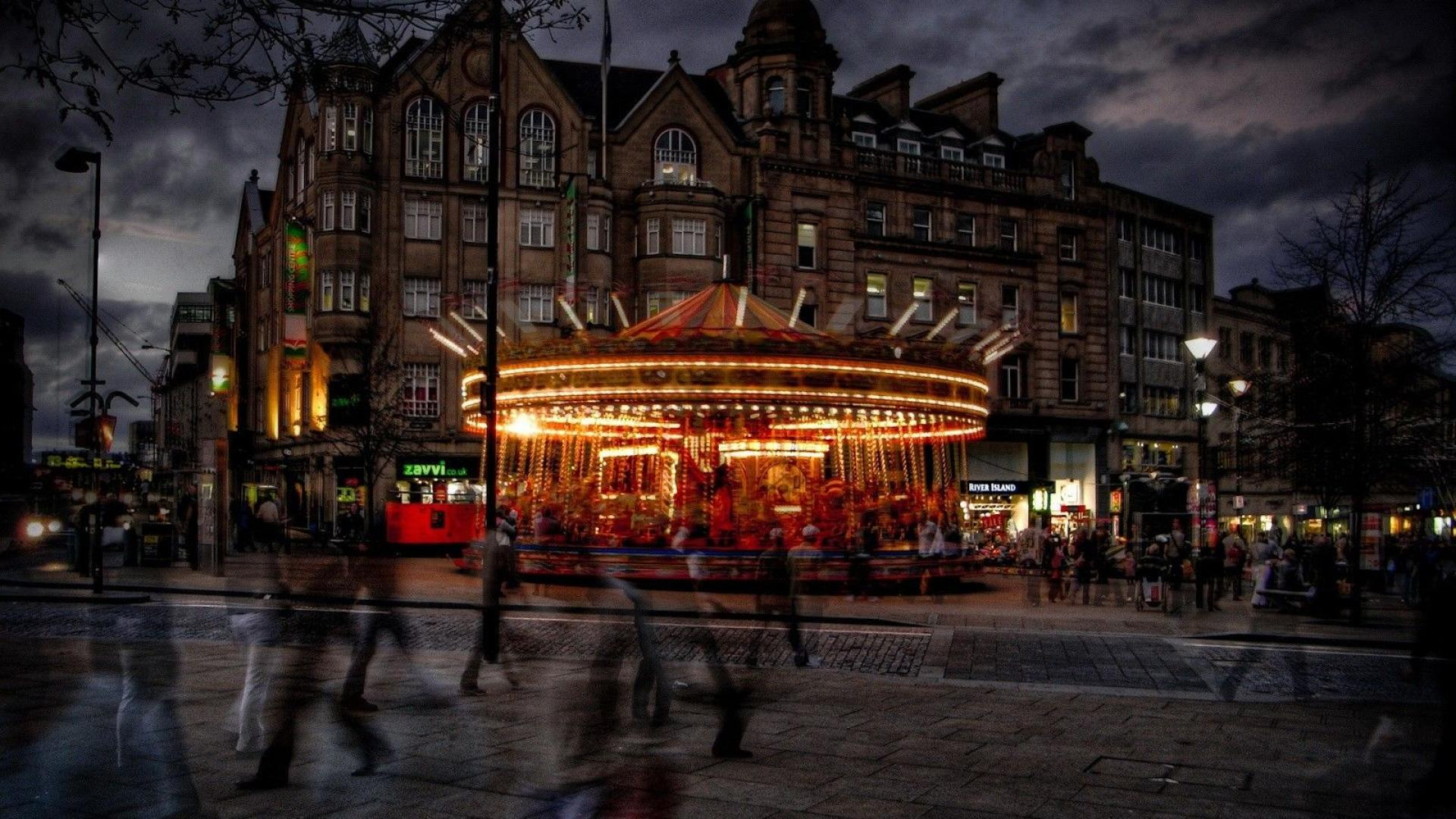 merry go round in sheffield england hdr wallpaper   ForWallpapercom 1920x1080