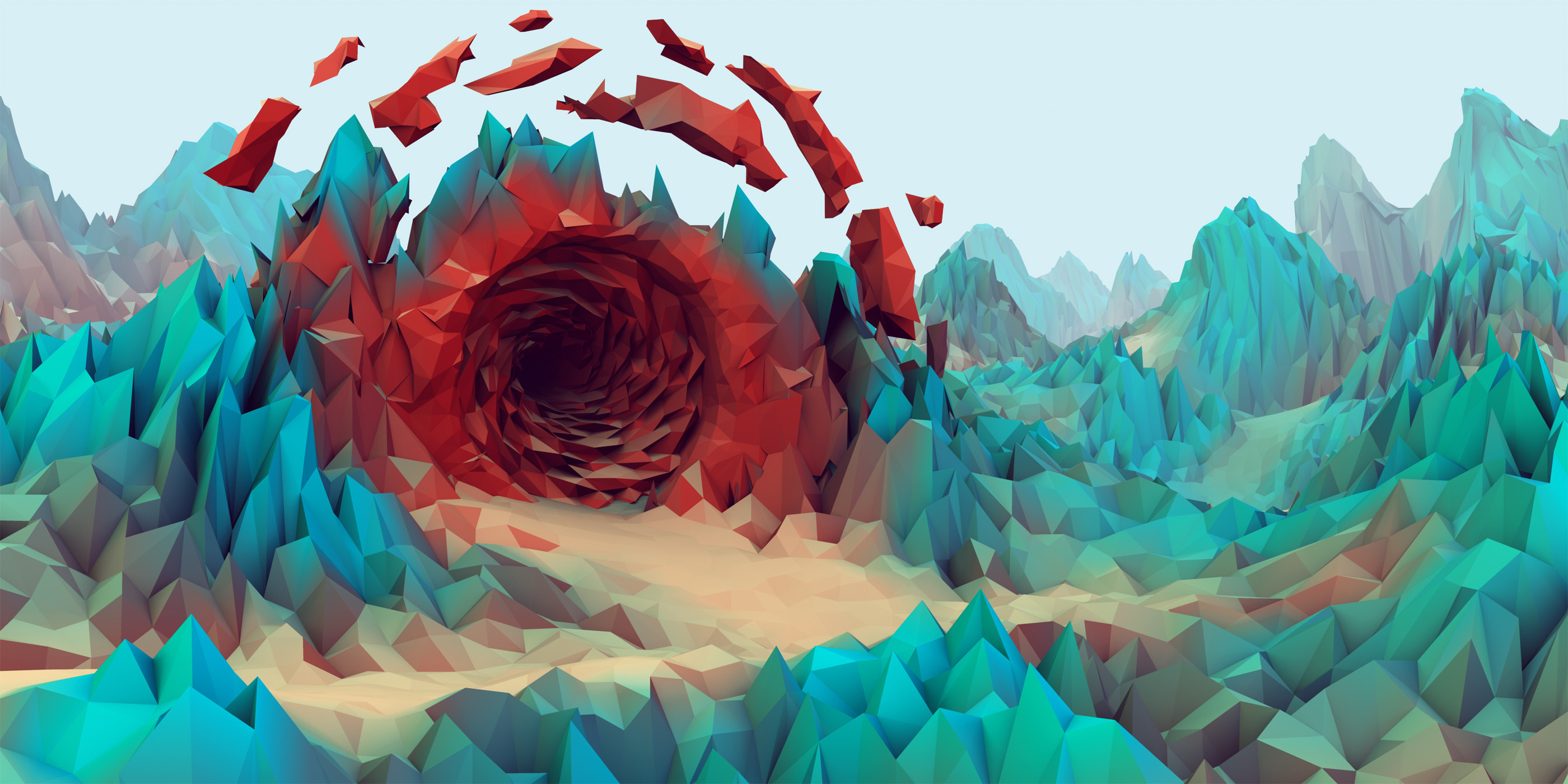 Quad HD low poly wallpapers for iPhone Android and Windows Phone 2800x1400