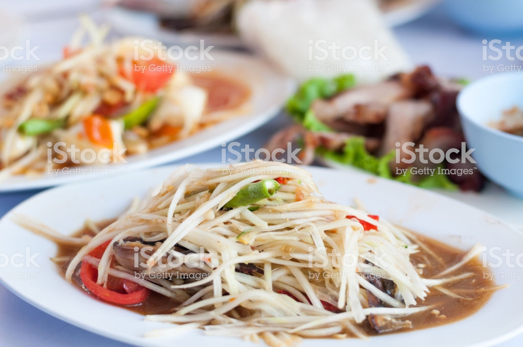 Close Up Somtum Papaya Salad With Esan Thai Taste Background Stock 1024x680