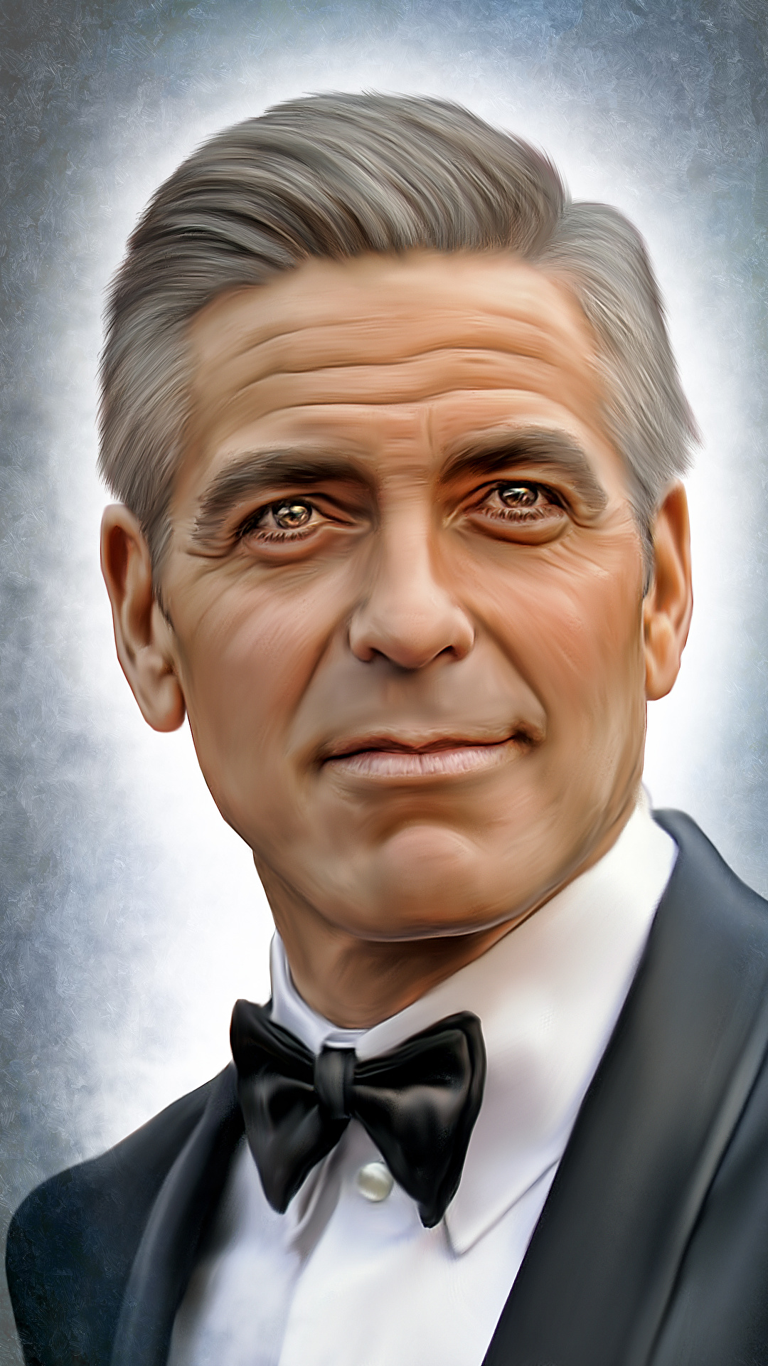 Image George Clooney Man Face Glance Celebrities Painting 1080x1920 1080x1920