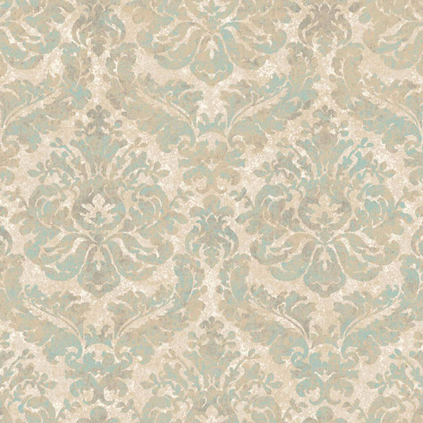 Green and Beige Feathery Damask Wallpaper   Wall Sticker Outlet 600x600
