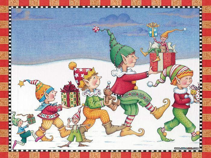 Christmas elf Art wallpaper   Christmas elf picture Mary Engelbreit 700x525