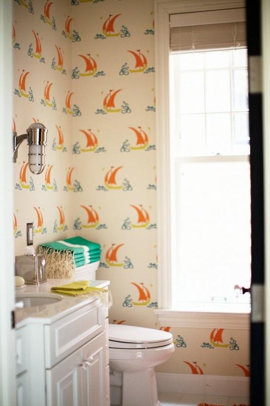 sailboat wallpaper peppermintblisscom Bathrooms Pinterest 554x831