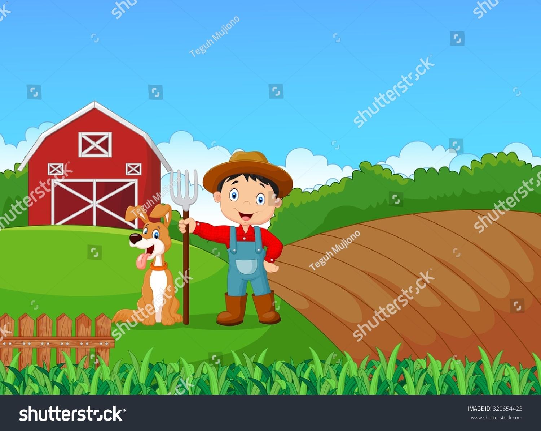 Cartoon Little Farmer His Dog Farm Stock Vector 320654423 1500x1192