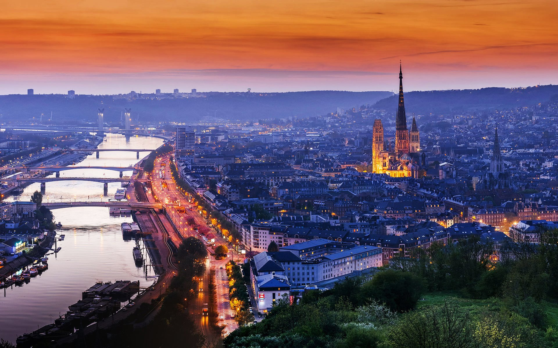 Rouen France Normandy cathedral house road light sunset evening 1920x1200