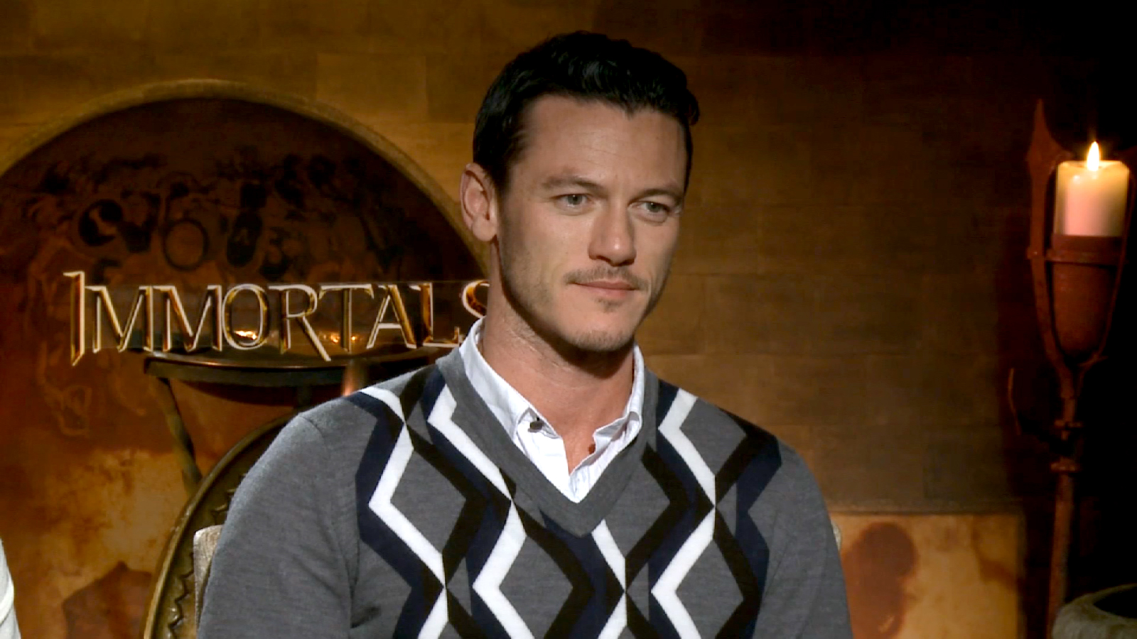 on set Luke Evans hd desktop wallpaper screensaver background 1600x900