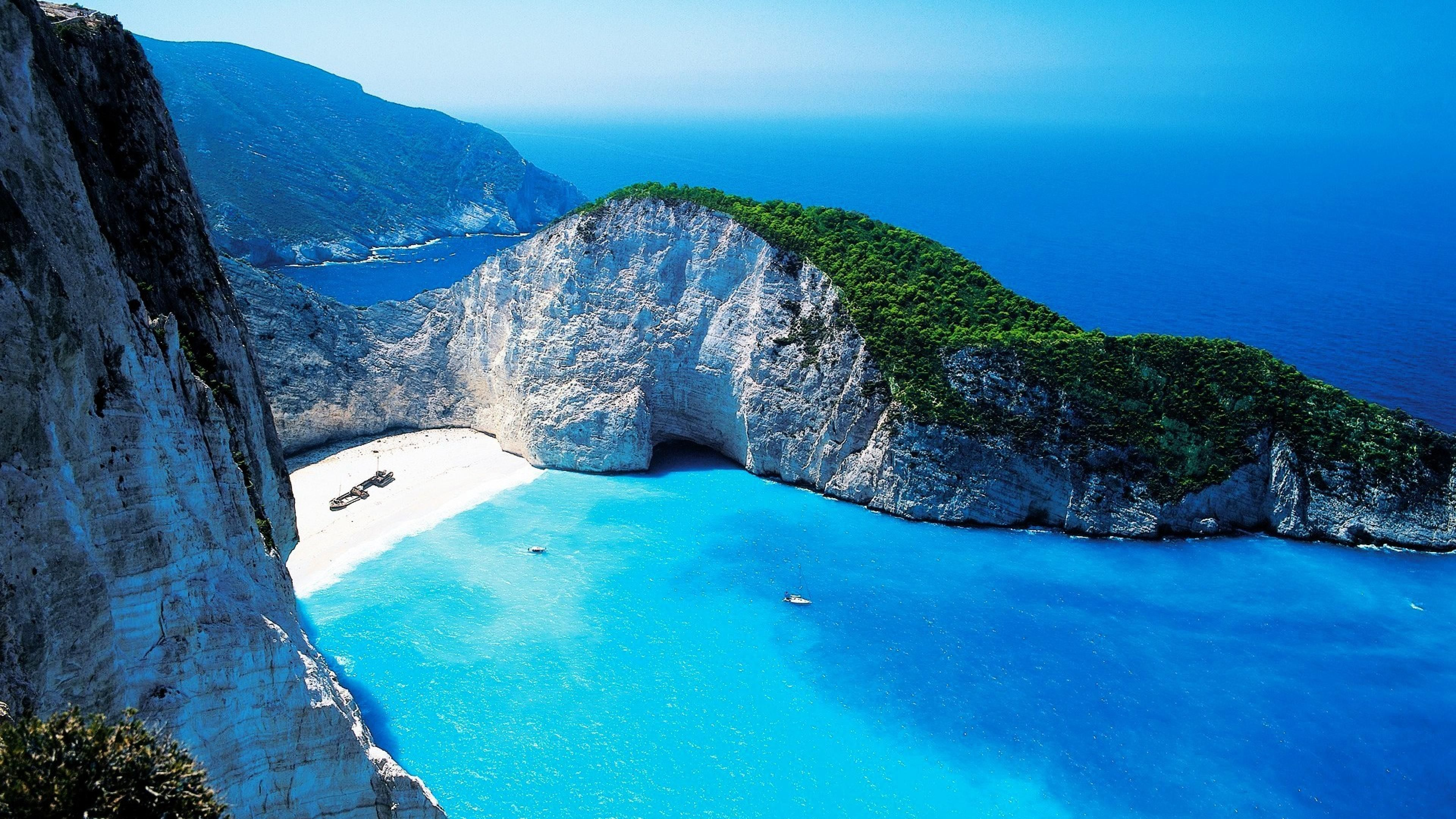 Zakynthos Beach Landscape Nature Wallpaper Images HD 3840x2160