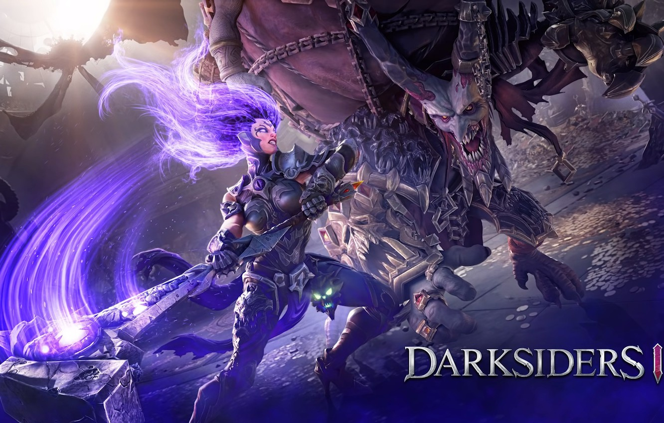 Wallpaper girl monster hammer rage Fury Darksiders 3 1332x850