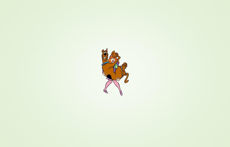 Wallpaper girl fear dog minimalism humor keeps Scooby Doo 1332x850