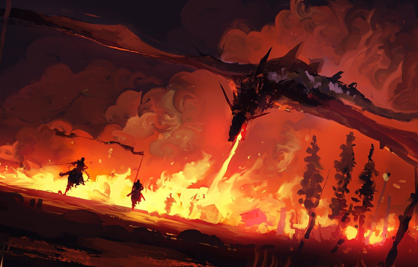 Wallpaper fire fantasy trees painting dragon battle Game of 1332x850