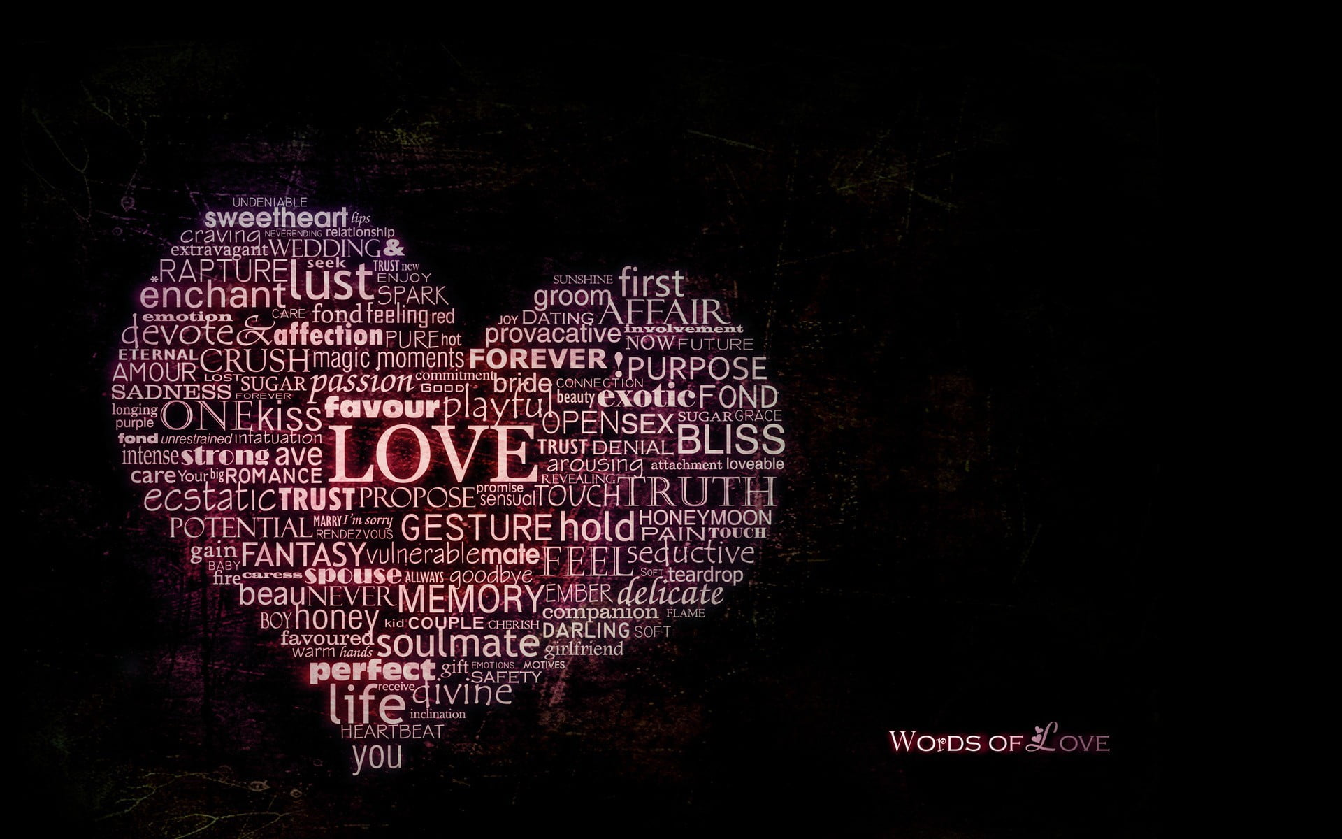 Love text love heart typography word clouds HD wallpaper 1920x1200