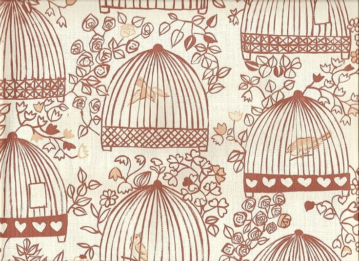 Bird cage flower heart vintage wallpaper retro Art deco 736x534