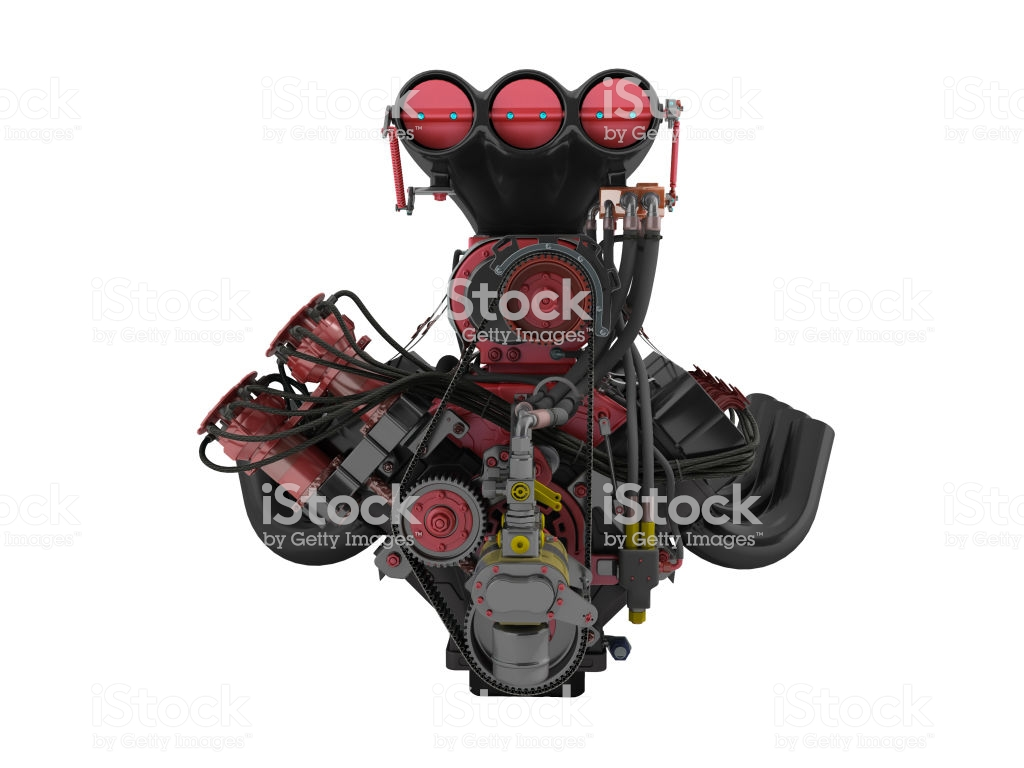 Red Engine With Supercharger Front View 3d Render On White 1024x768