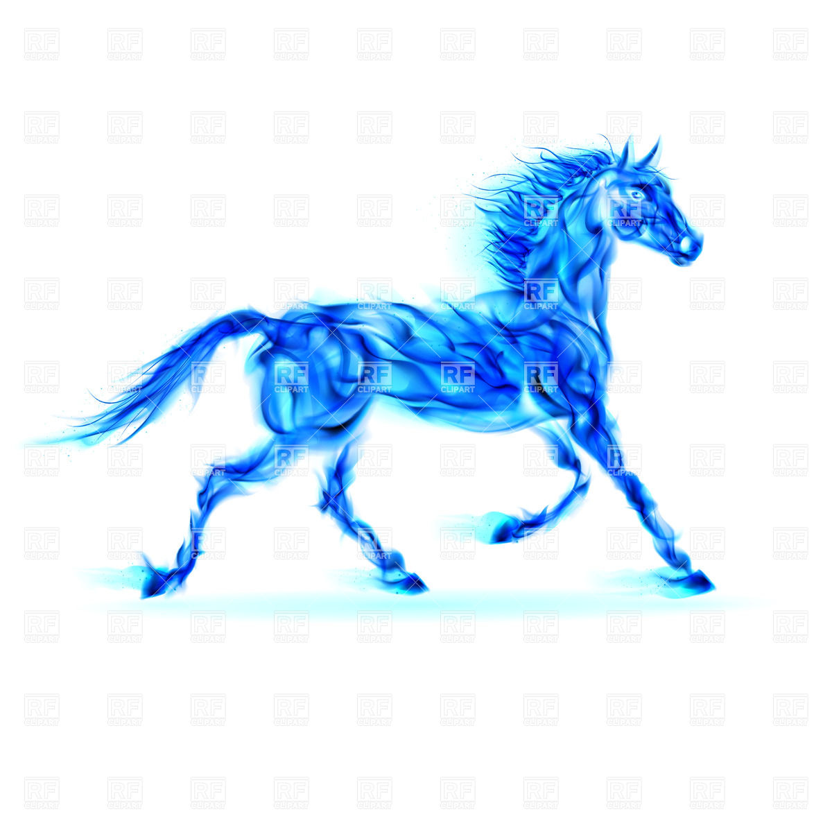 Blue fire horse in motion on white background 24888 download royalty 1200x1200