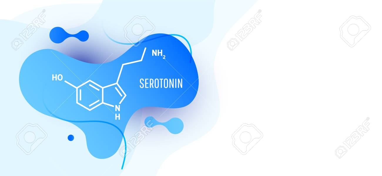 Serotonin Hormone Structural Chemical Formula On Blue Background 1300x600