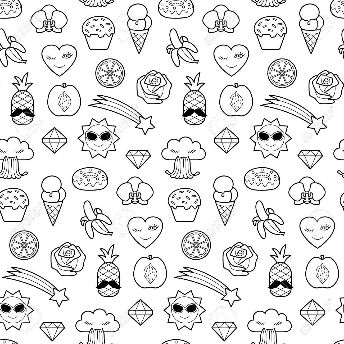 Seamless Pattern Of Fashion Coloring Patches Pin Badges Wallpaper 1300x1300