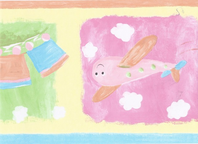 Blue Yellow Orange Kids Train Wallpaper Border   Baby Nursery 640x465