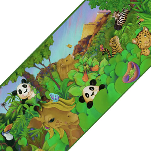 Cartoon Animals Prepasted Wall Border   Jungle Accent Wallpaper Decor 500x500