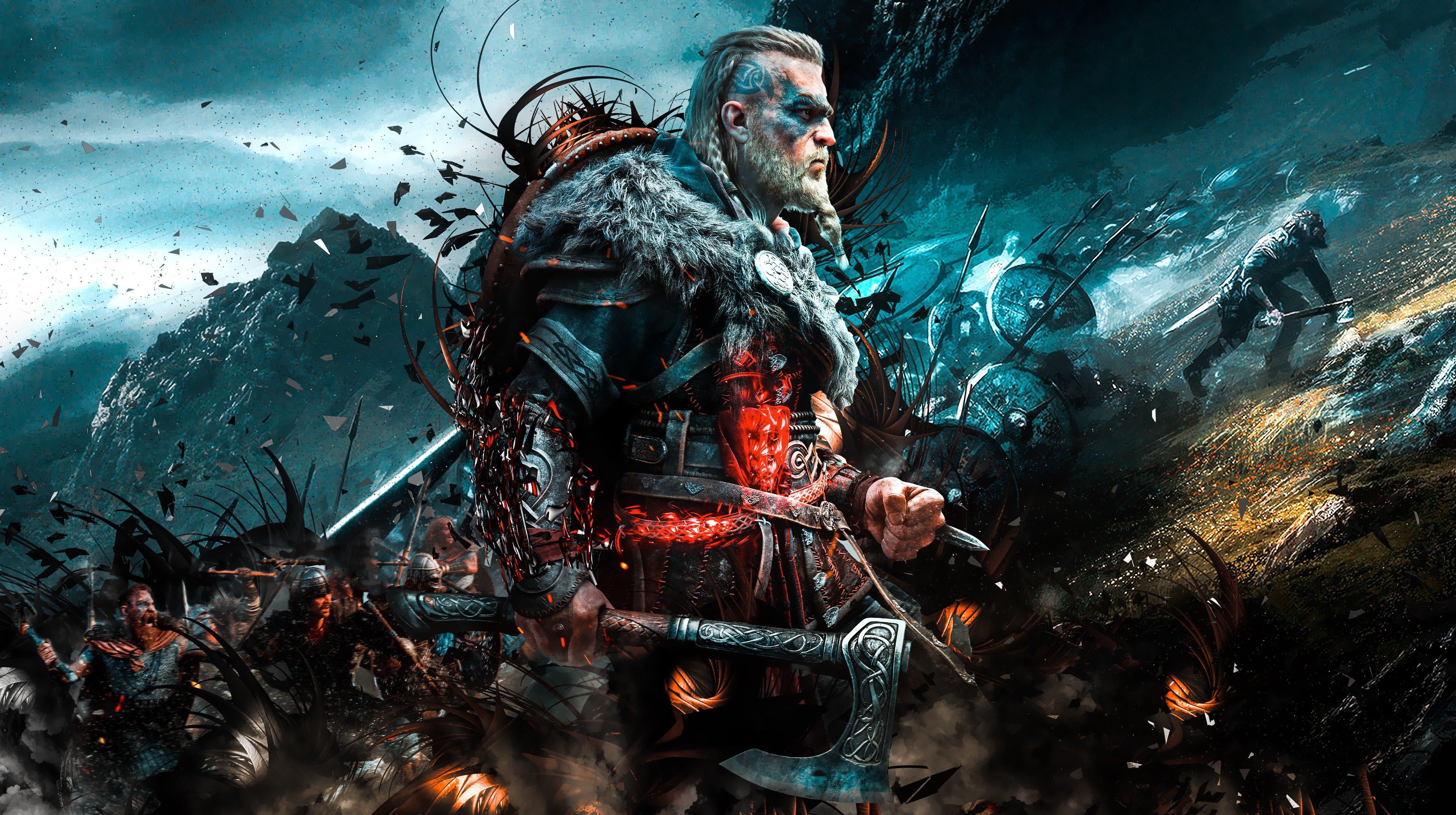 Desktop Wallpapers Assassins Creed viking Battle axes Men 3860x2160 3860x2160