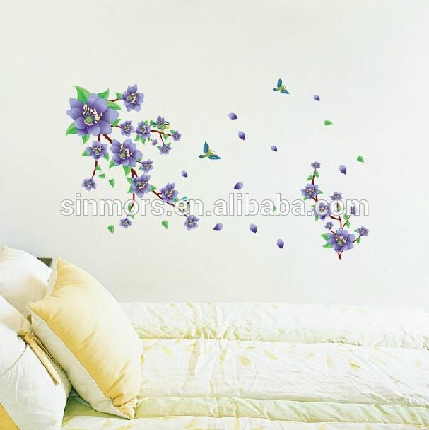 Beautiful purple flower removable 3d wallpaper for home decorationpvc 607x608
