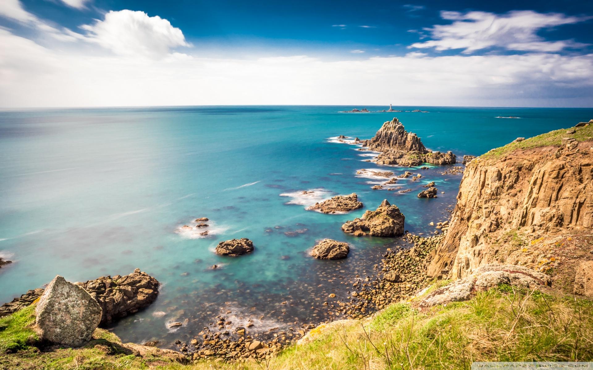 Rocky shorelines at Lands End Cornwall United Kingdom 4K HD 1920x1200