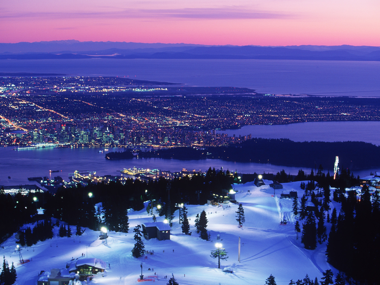 Vancouver Mountains Night HD Wallpaper Background Images 1600x1200