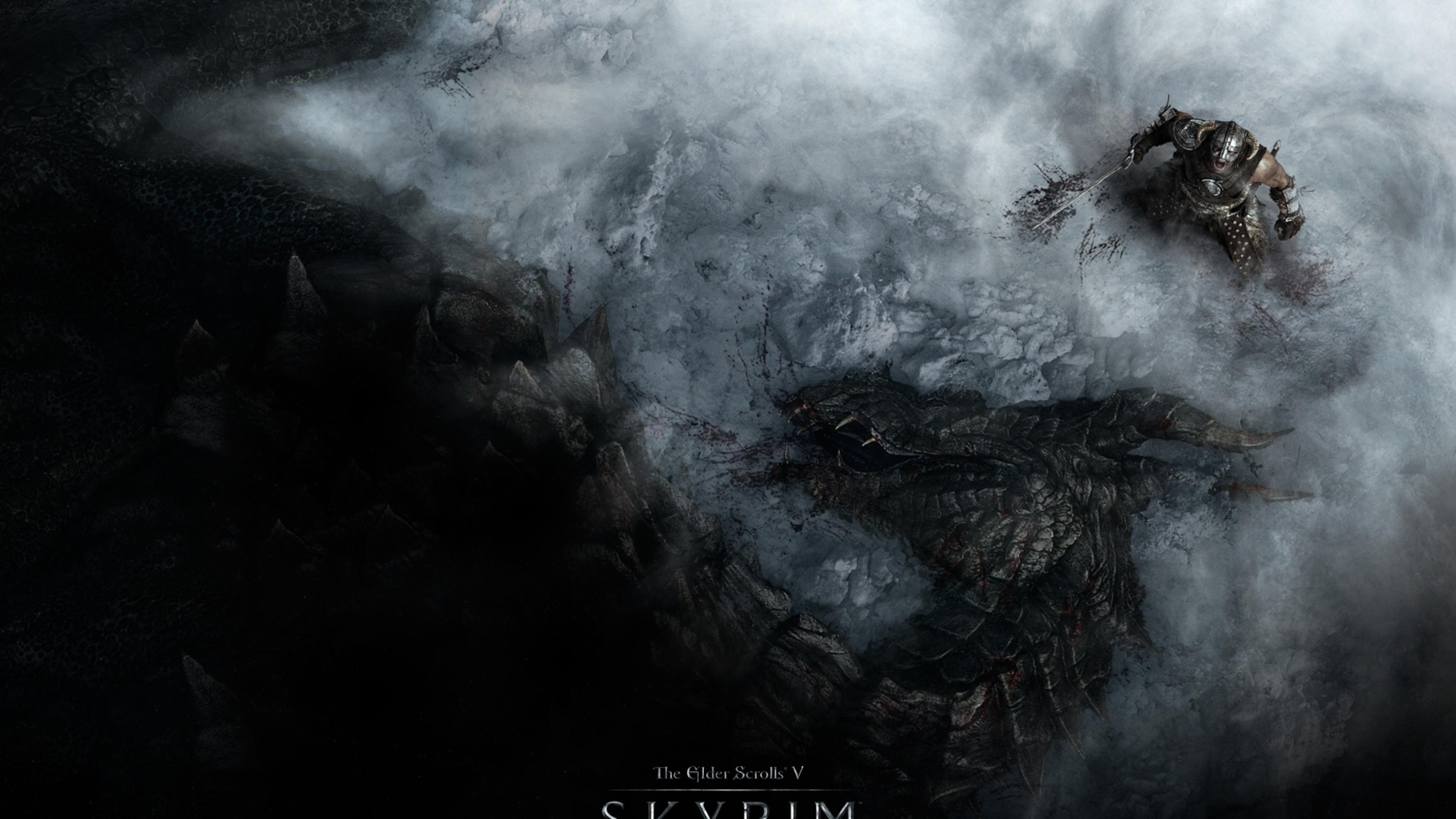 Download Wallpaper 3840x2160 The elder scrolls skyrim Warrior Dragon 3840x2160