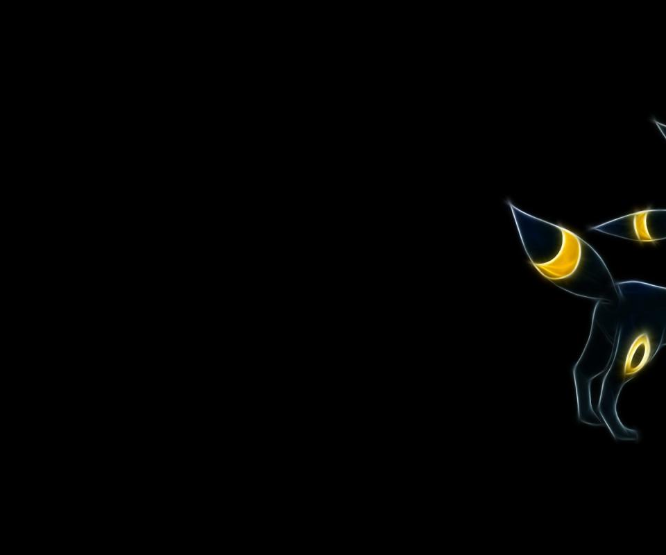 pokemon umbreon black background 1920x1200 wallpaper art hd wallpaper 960x800