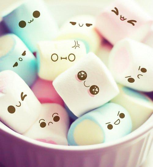 cute cute food face food marshmellow marshmellows pastel smiley 500x543