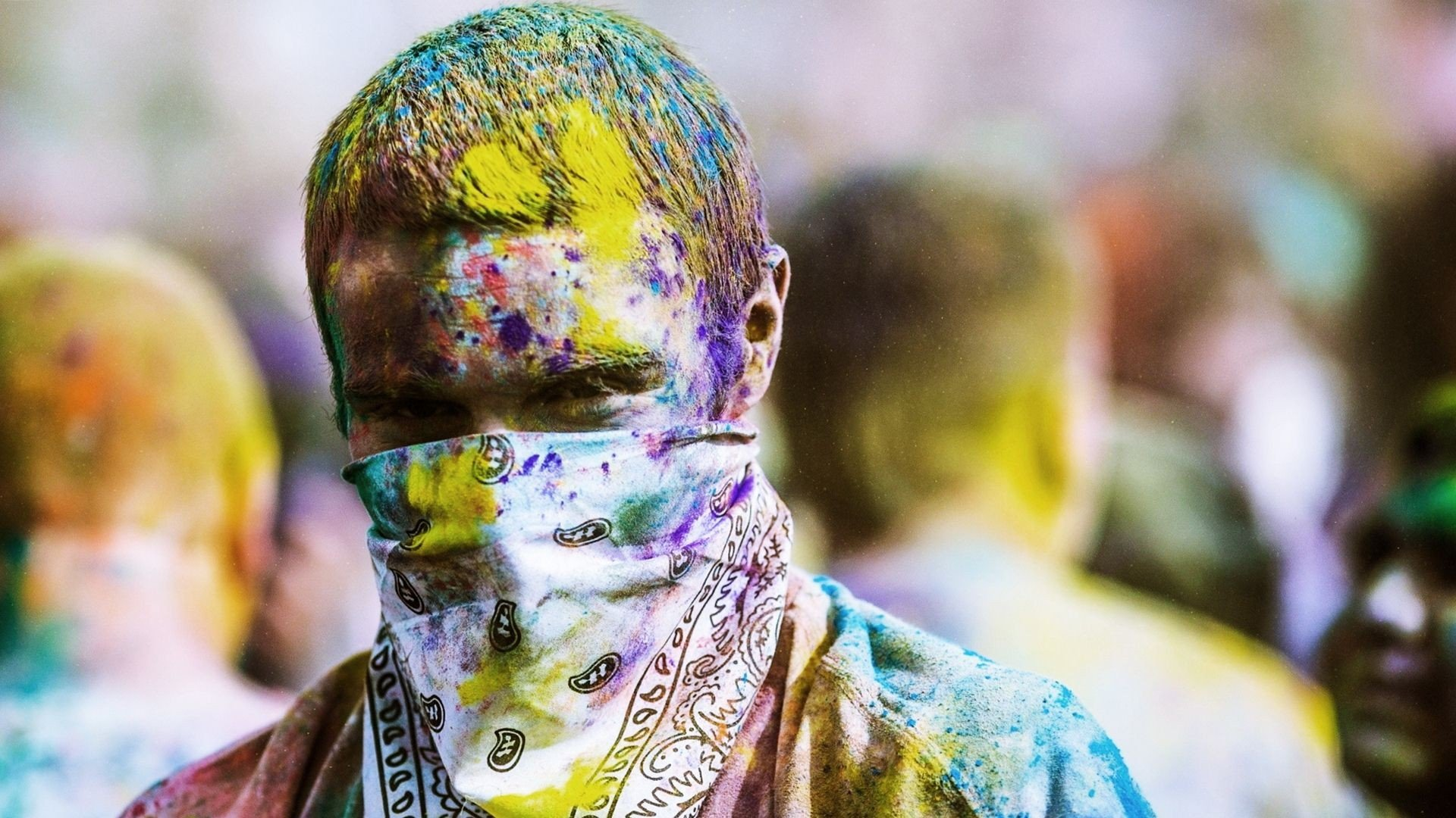 Holi Festival Man Face Scarf HD Wallpaper 1920x1080