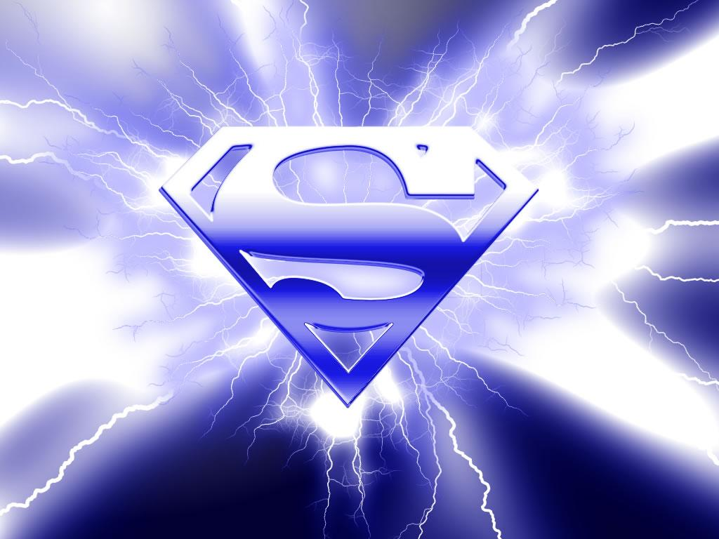 superman logo azul papel de parede sobre a logo de superman na cor 1024x768