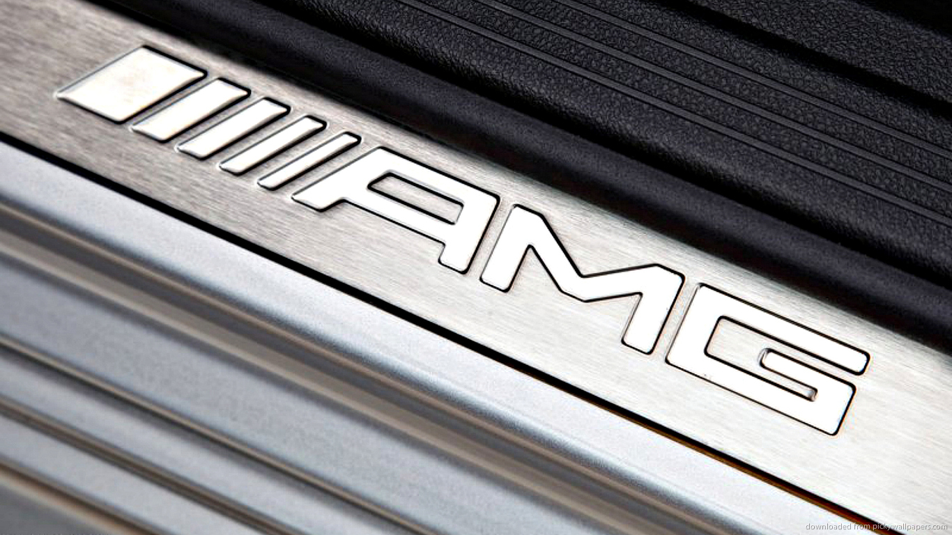 Download 1366x768 Mercedes Benz AMG Steel Logo Wallpaper 1366x768