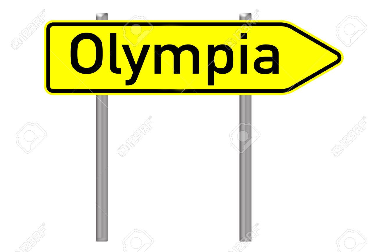 Signpost With The Word Olympia Isolated Over A White Background 1300x866
