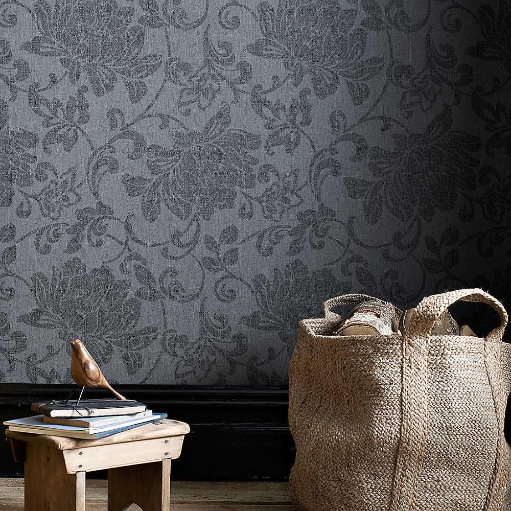 Graham Brown Jacquard Wallpaper   Charcoal Wallpaper House 1000x1000