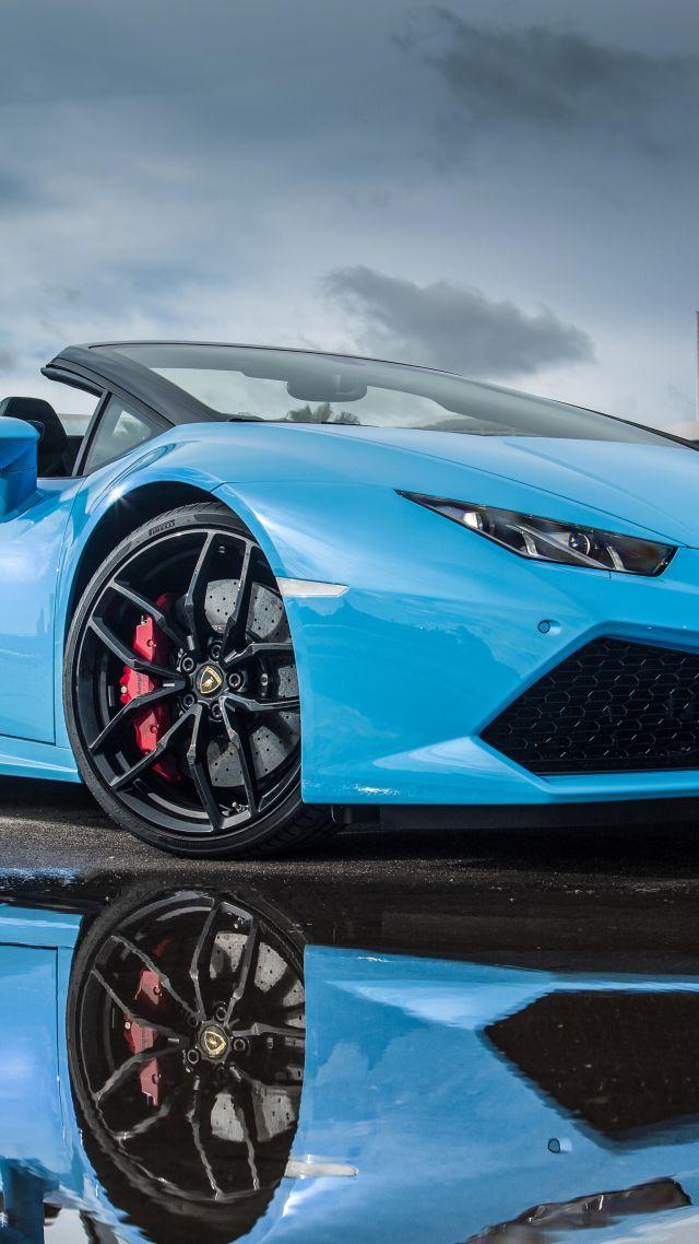 Wallpaper Lamborghini Huracn LP 610 4 Spyder bodykit blue Cars 640x1138