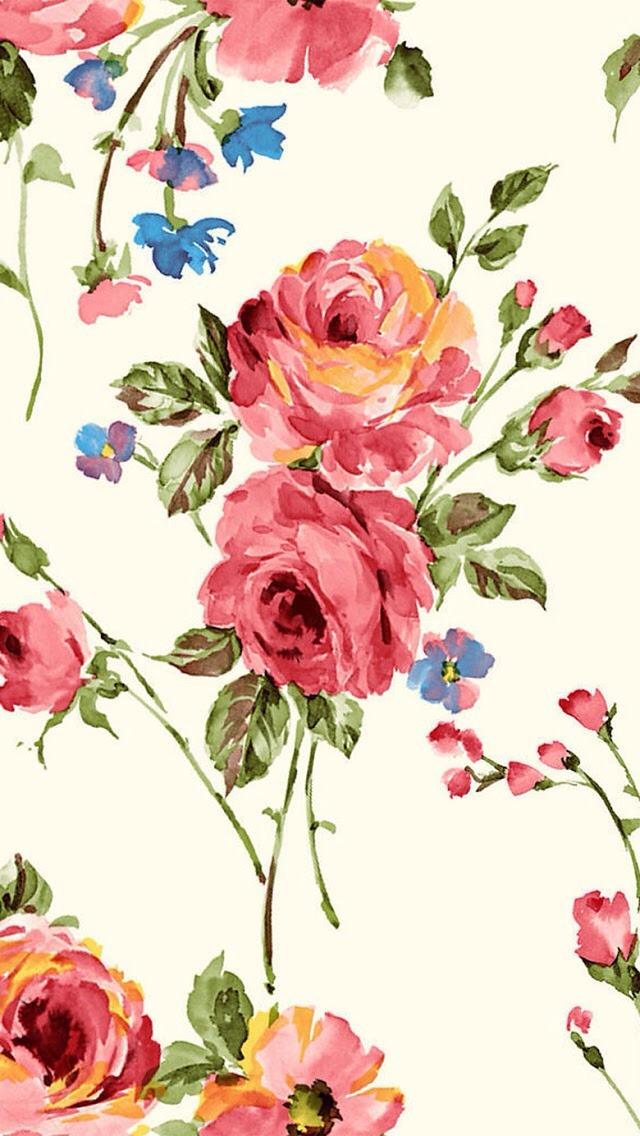 Vintage Painting Flowers Wallpaper   iPhone Wallpapers 640x1136