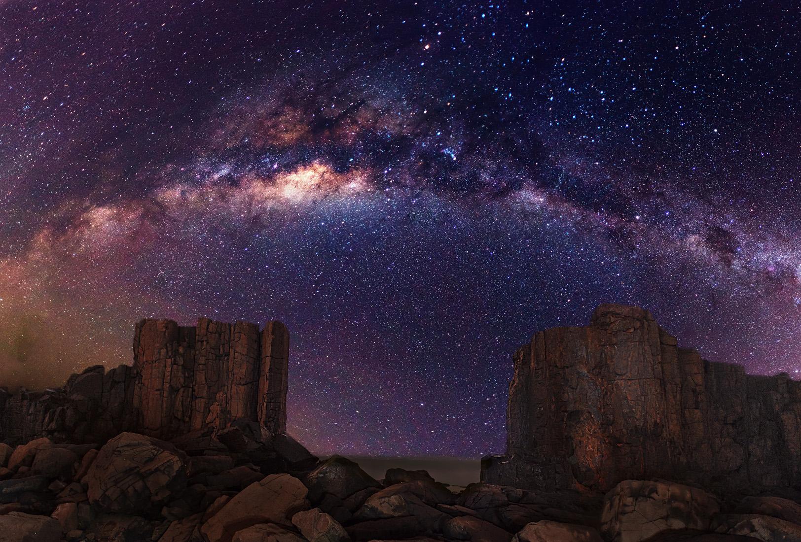 Galaxy Milky Way Stars Desert Night Rocks Stones wallpaper background 1624x1100