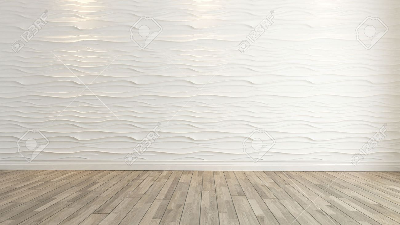 Wave Wall Decoration With Wooden Floor Background And Template 1300x731