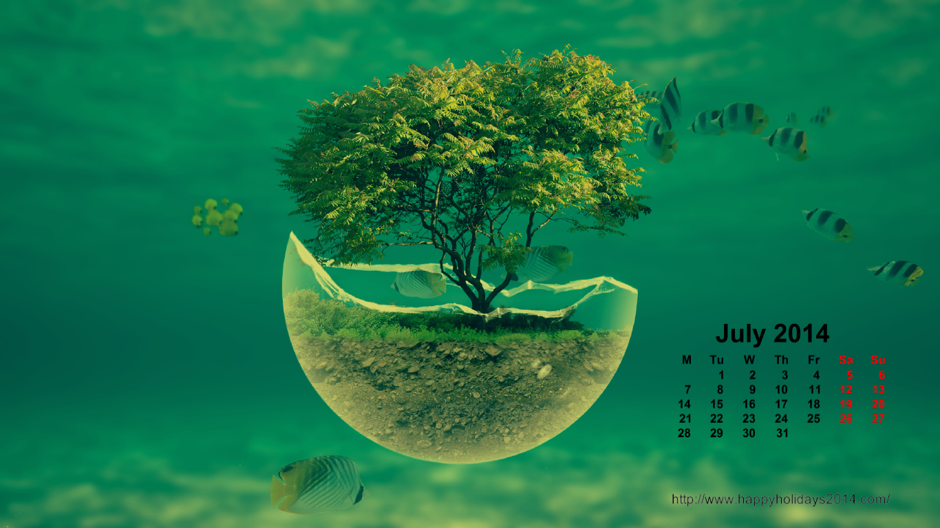July 2014 Calendar Wallpapers Happy Holidays 2014 1366x768