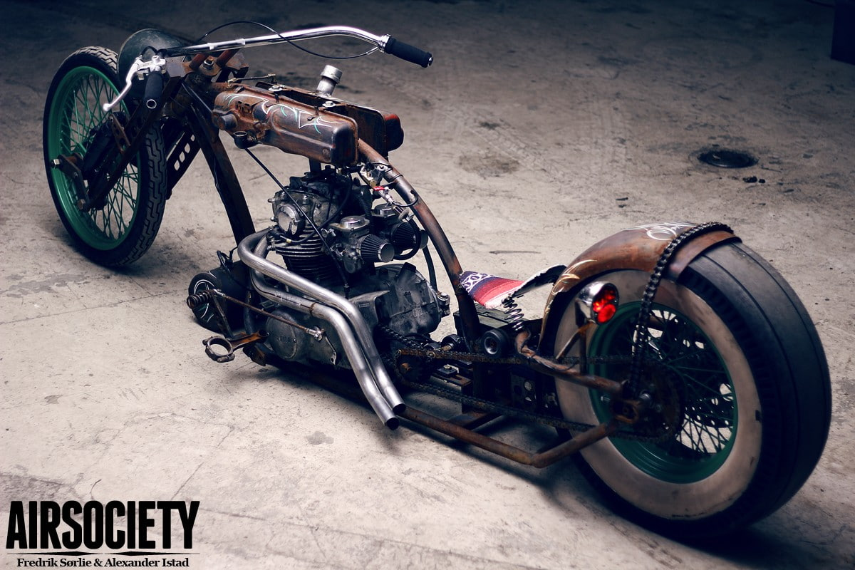 HD wallpaper brown and green Airsociety motorcycle rat style 1200x800