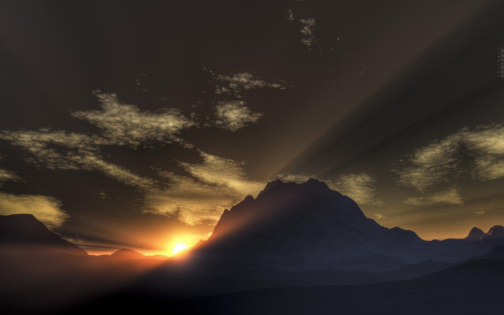 Sunrise mountains snow Sun 3D renders rays wallpaper 1680x1050 1680x1050