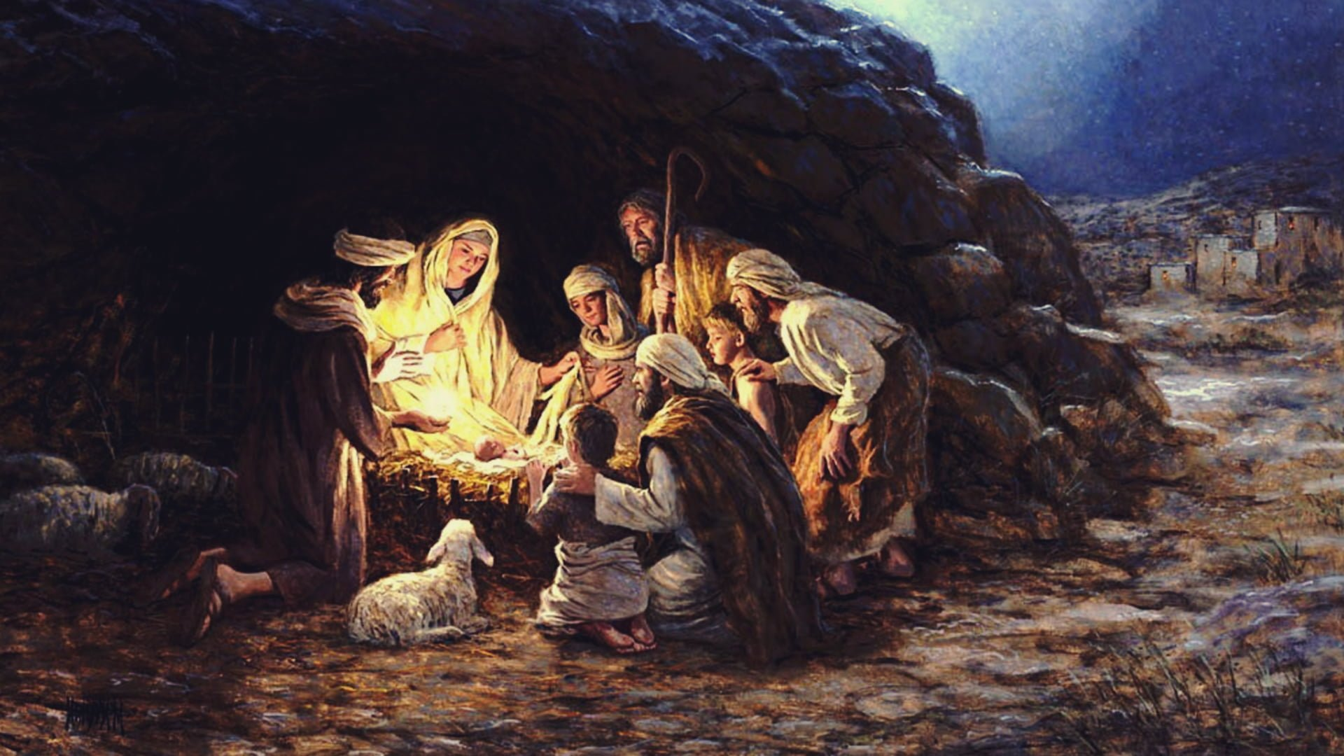 The birth of Christ digital painting Jesus Christ Christmas 1920x1080